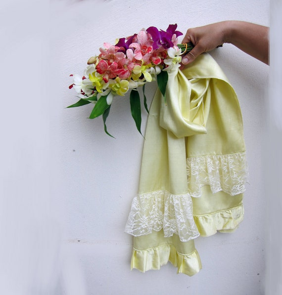 SALE Organic Cotton Satin Scarf with Lace in Light Yellow Narcissus...Lace Scarf..Ruffle Scarf..Bridal Scarf..Women Scarf