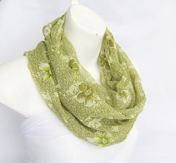 INFINITY Pastel Pear Green with Olive Scarf - fabric a sari