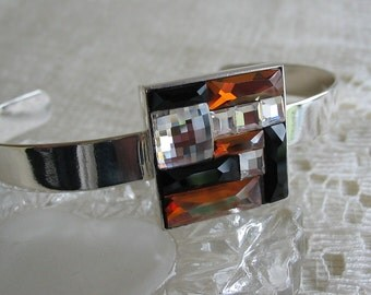 Swarovski Copper and Jet Mosaic Color Block Bracelet