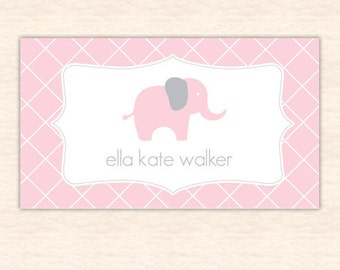Pink Lattice Elephant Calling Cards - Printable File - Personalized