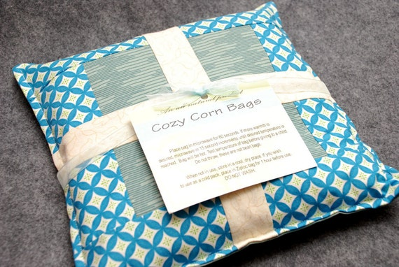 Corn Bag Microwave Heating Pad -- Quilted, hand warmer 9x9