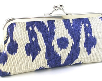 Blue Ikat Clutch Handbag - Cobalt  Metal Frame Purse - Linen Boho Bag -