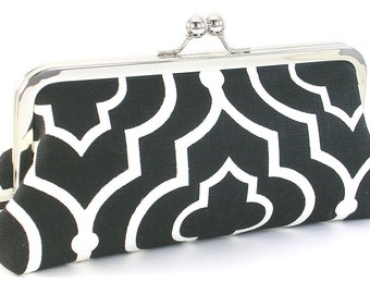 Black and White Clutch Purse - Black Modern Evening Bag - Women's Handmade Metal Frame Handbags