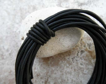 Leather Cord Round - 1.5mm - Natural Dye Black - By the yard