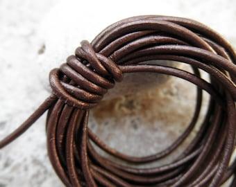 Metallic Tamba - 2mm Leather Cord - By the Yard