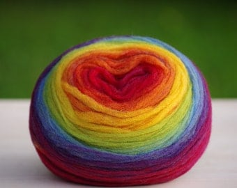 Kauni Chunky Wool Pencil Roving / Pre-Yarn, for Spinning, Felting or Knitting, Rainbow