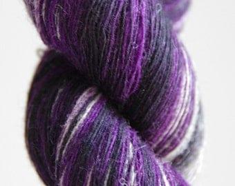 1 ply Kauni Wool Yarn 8/1, Self-Striping Purple, Black, Grey Gray
