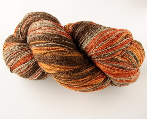 Kauni Wool Yarn 8/2 Color eb, Self-Striping, Fingering 2ply, Grey Brown Orange Mustard Yellow