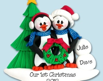 PENGUIN FAMILY of 2 / Couples HANDMADE Polymer Clay Personalized Christmas Ornament
