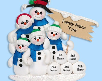 Snowman  Family of 5 HANDMADE POLYMER CLAY Personalized Christmas Ornament