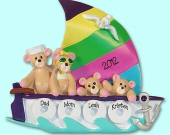 Belly Bear Family of 4 in Sailboat  RESIN Personalized Christmas Ornament