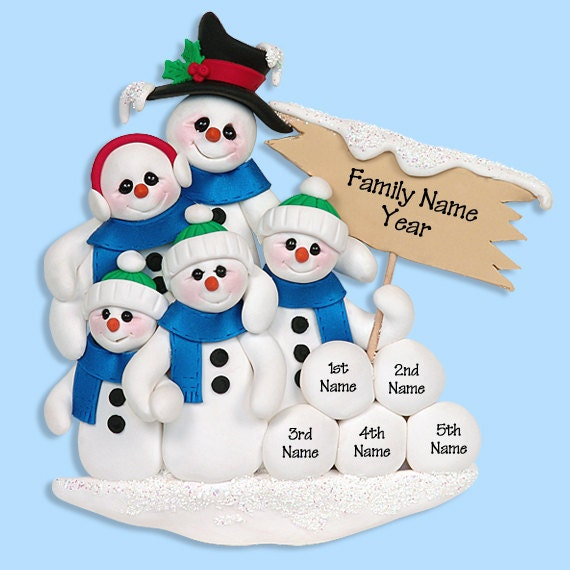 Snowman Family of 5 HANDMADE POLYMER CLAY Personalized