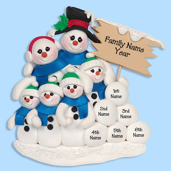 Snowman Family of 6 HANDMADE POLYMER CLAY Personalized