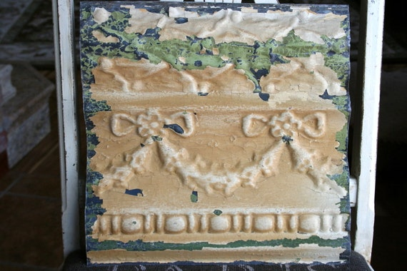 "Genuine Antique Ceiling Tile -- 12"" x 12"" -- Golden Tan Paint with Unique Swag Design - 3D"