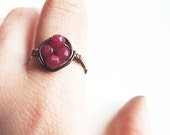 autumn rose ring - delicate wire wrapped ruby jade copper rustic ring - KicaBijoux