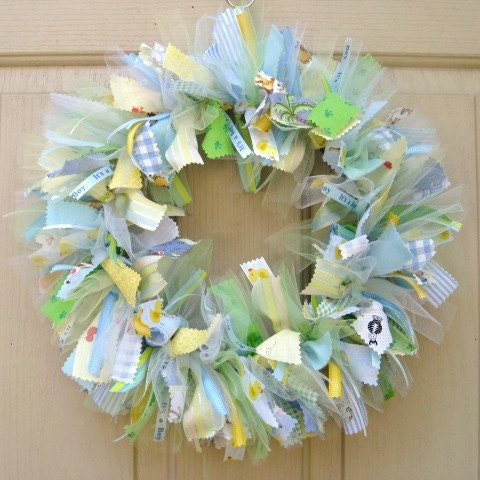 Newborn baby boy fabric wreath nursery decor new baby boy for Baby boy hospital door decoration