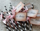 OH BABY - Gray and White Swizzle Straws and Tags - Set of 12 - You Choose Ribbon Color