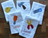 Personalized Burp Cloth Set - Tool Time