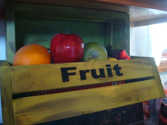 Under the counter, Distressed, shabby finish Under Cabinet fruit caddy, shelf, under cabinet storage