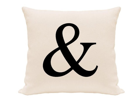 """PRICE REDUCED:  Ampersand sign printed pillow cover, white and black pillow size 16"""","""