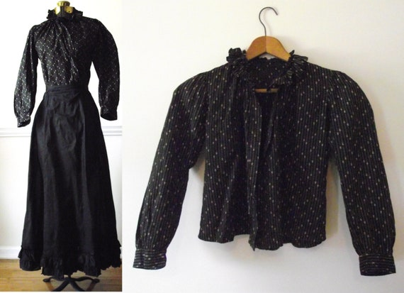 RESERVED FOR J    Antique Victorian Blouse  / 1800s Womens Clothing / Black Print / Vintage 1800s