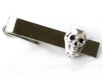 Steampunk - Pirate SKELETON SKULL - Men's Tie Bar Clip Bar Clasp - Antique Silver - By GlazedBlackCherry