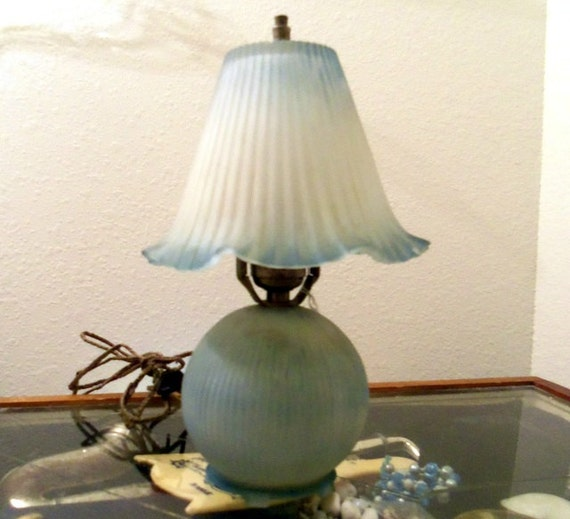 antique vintage blue glass lamp frosted boudoir pleated. Black Bedroom Furniture Sets. Home Design Ideas