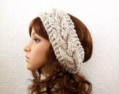 Hand knit headband head wrap ear warmer - oatmeal or color choice - women's winter accessories Winter Fashion by Sandy Coastal Designs