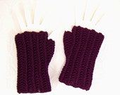 Crocheted Fingerless Gloves - Fingerless Mittens - dark mulberry - handmade  Winter Fashion Accessories by Sandy Coastal Designs