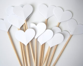 24 Wedding White Heart Party Picks, Cupcake Toppers, Food Picks, Toothpicks - No624