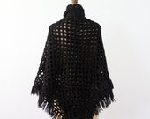 1970s knit shawl, black throw