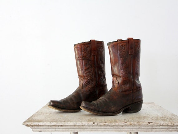 1970s Motorcycle Boots / Vintage Leather Boots / Mens 10.5