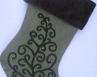 """Elegant Christmas Stocking--""""Swirly Tree on Sage"""""""