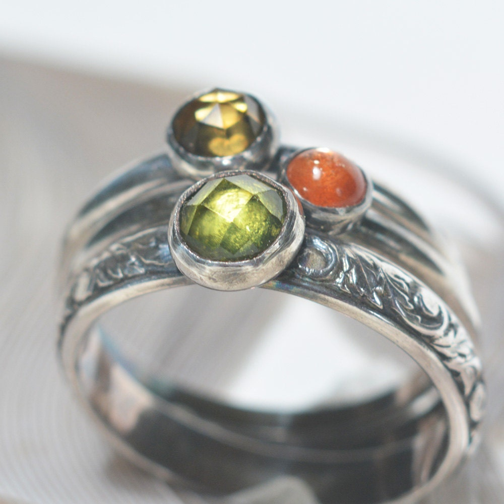 Set Of 3 Gemstone Stacking Rings Size 7 Peridot By on Kitchens By Design Sterling Ma