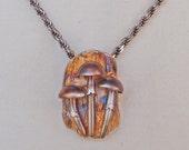 Mushroom Trio Fine Silver Pendant OOAK Handmade