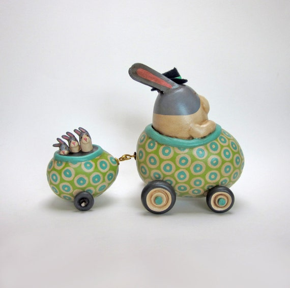 RESERVED Pops takes the Bitsy Bunnlets for a Ride