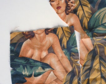 1950s  inspired Pin Up Nudie Fabric scrap by Alexander Henry