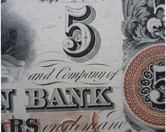 1850's uncut Hagerstown Bank ten and five Notes