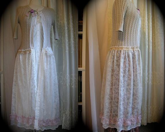 Shabby Sweater Coat, handmade altered couture, lace fabric lace embellished, Medium