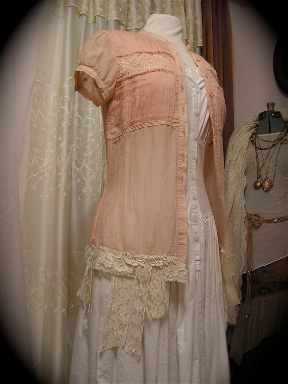 Tattered Sheer Blouse, shabby lace hem, soft pink romantic hue, altered couture, SMALL Petite