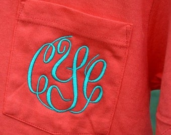 MONOGRAMMED Pocket Tee - Short Sleeve - Sorority Gift  - Bridesmaid Gift - Embroidered shirt - initials - Embroidered pocket tee
