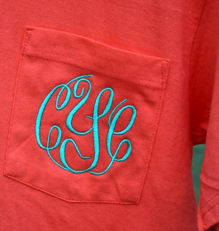Sale monogrammed pocket tee short sleeve sorority gift