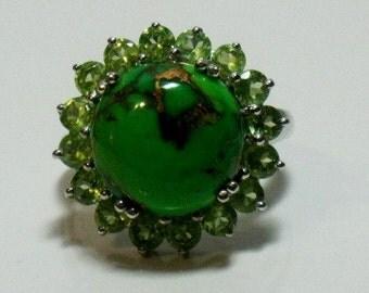 Mojave Green Turquoise Peridot Ring