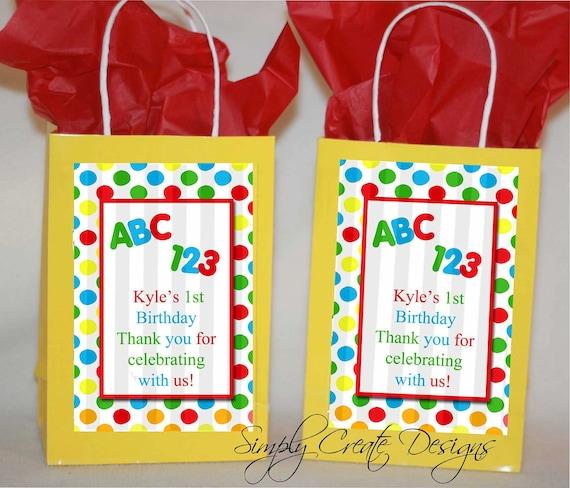 Sale 1st Birthday ABC 123 Favor Tag DIGITAL FILE 4x6 Jpeg Digital File Personalized
