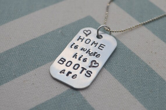 Military Wife Hand Stamped Dog Tag