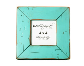 4x4 Cabin picture frame - Turquoise, Free Shipping