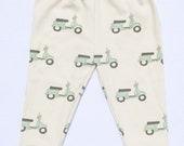 Unisex Baby Leggings, Organic Cotton Leggings, MADE TO ORDER, hand drawn mint scooter leggings by House of Mia