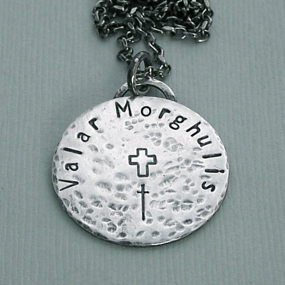 Valar Morghulis Coin Necklace - Two Sided Hand Stamped Sterling Silver - Game of Thrones Jewelry
