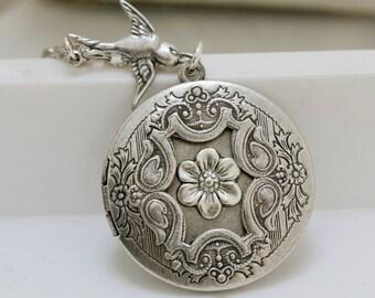 Sea Blossom,Locket,Jewelry Gift,Antique Locket,Silver Locket,Posey,Poppy, Locket,Blossom,Wedding,Bridal Jewelry,Bridesmaids Gift-m