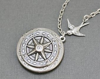 Silver Compass Locket Necklace, Wedding, Nautical,Wedding,Bridal Jewelry,Bridesmaids Gift